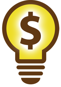 Lightbulb with glowing dollar sign inside