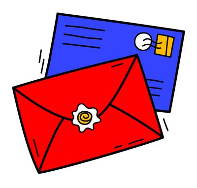 Two envelopes, one red and one blue